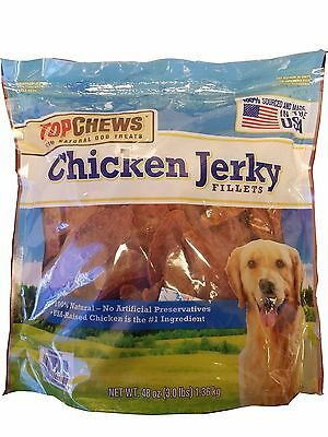 Top Chews Chicken Jerky Fillets USA Made 100% Natural Dog Treats 48 oz (3 LB)