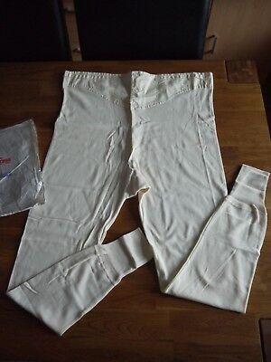 Vtg Mens High Cross LONG JOHNS Underwear Long Pants Button Yoke Front Brace Tape