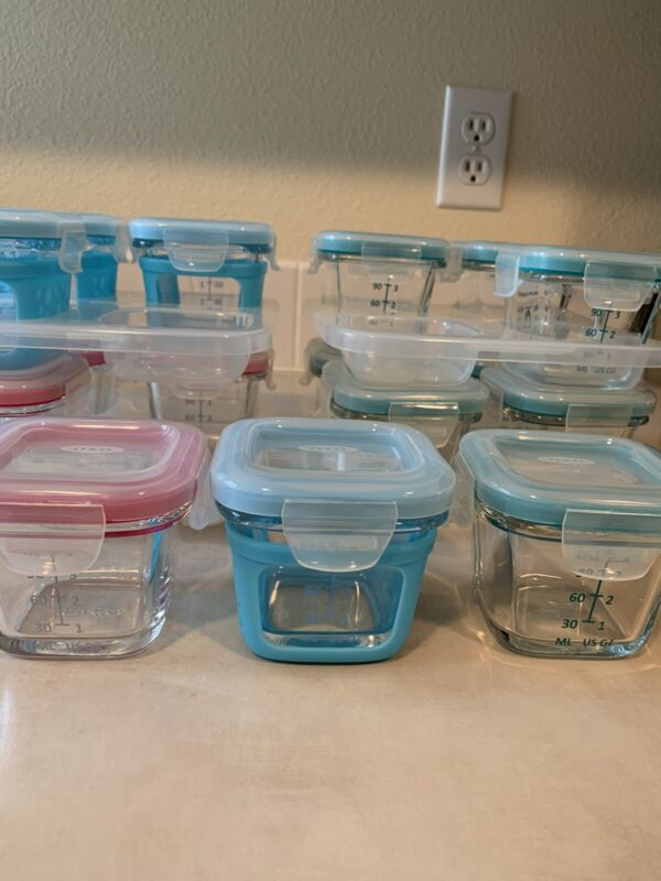 Oxo Tot Glass Baby Food Containers 4 Oz Lot Of 16