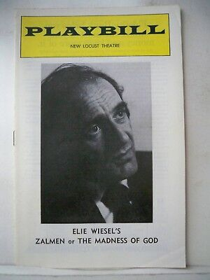 ZALMEN or THE MADNESS OF GOD Playbill ELIE WIESEL Tryout PHILADELPHIA 1976