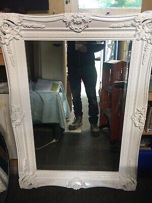 Large White Double Framed Vintage Mirror