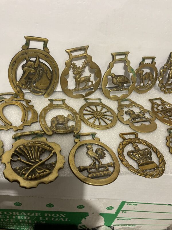 Horse Harness Brass Medallion Lot Whippet Rooster Quail Thistle Donkey Stag Lion