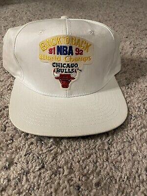 Vintage NBA 1991 1992 Back To Back Chicago Bulls World Champions Snapback Hat