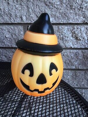 """Vintage Halloween 8"""" EMPIRE 1995 Pumpkin Witch Blow Mold Tree Topper"""