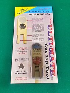 NEW GOLD ORIGINAL ULTIMATE TIP TOOL - ULTI-MATE POOL CUE TIP SHAPER SCUFFER