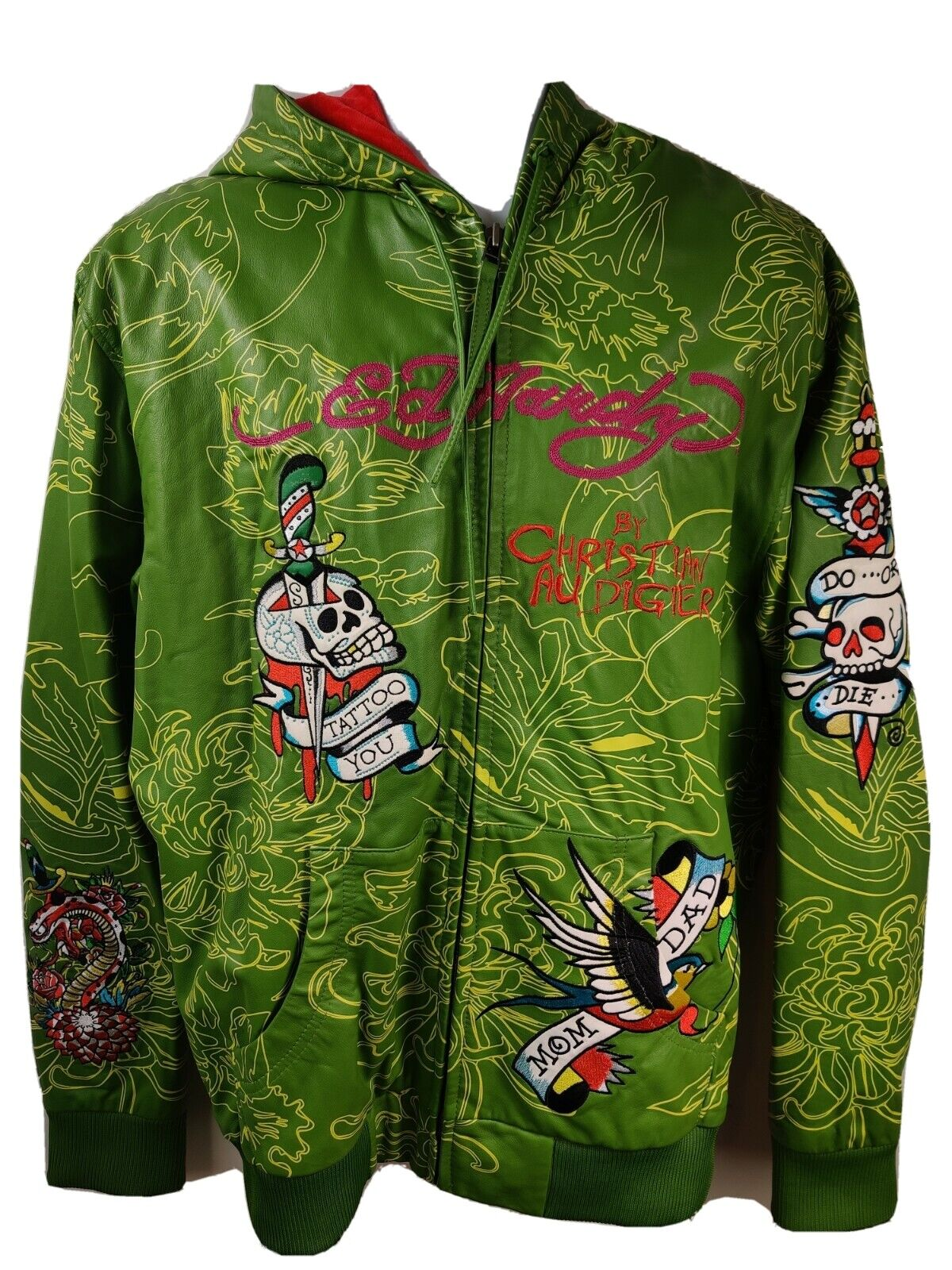 Ed Hardy Christian Audigier Mens Green Leather Hooded Jacket 2XL Do or Die Skull