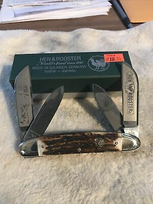 Vintage Solingen Hen & Rooster 224DS /CH Coon Hunter Congress Knife Stag