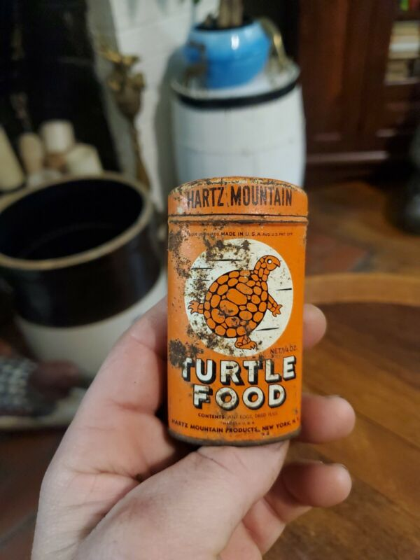 Vintage Turtle Food Metal Tin 1/4 Oz Hartz Mountain Products New York New York