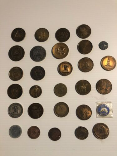 Masonic Freemasonry  Tokens, Masonic Coins and medallions, 29 piece collection