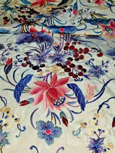 """Antique Immense Embroidery Flowers & Berries Silk 20"""" Fringe Piano Scarf Shawl"""