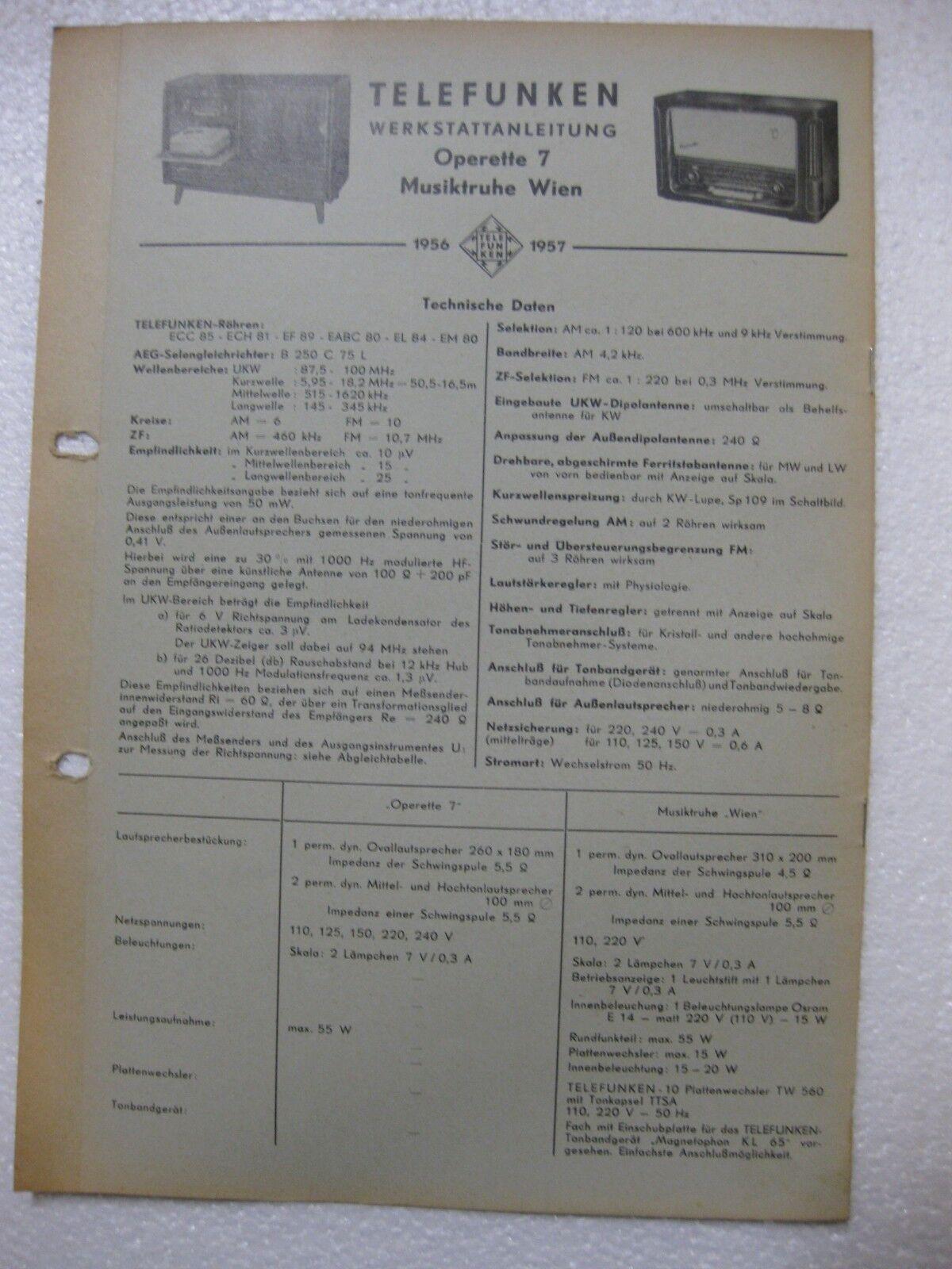 TELEFUNKEN Operette 7 Musiktruhe Wien Werkstattanl. /Schaltplan Original 1956-57