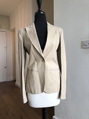 Alexander McQueen Beige Leather Blazer Jacket SZ 40 SS 2005 Vintage