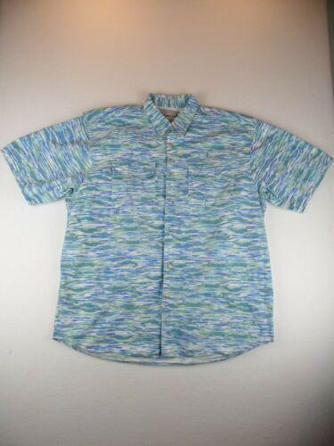 Bimini Bay Mens Performance Vented Fishing Shirt Blue/Green Size XXL