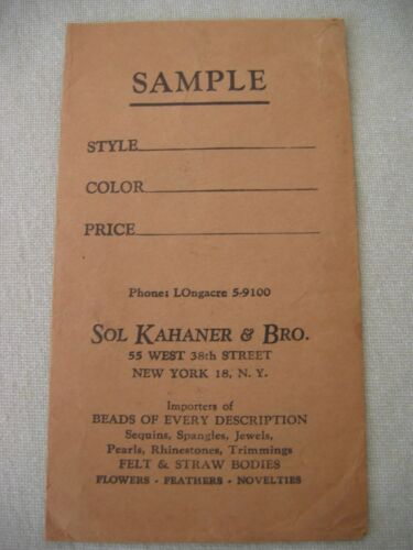 Vintage Sample Envelope SOL KAHANER & BRO 55 West 38th St NY, NY Beads Feathers