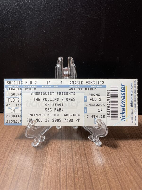 The Rolling Stones Concert Ticket Unused Vintage November 13 2005 SBC Park