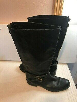 J Crew Tall Boots Black Leather Riding Flat boots~sz 11~back zip~31132