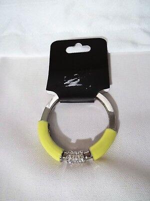 Lia Sophia Stretch Bracelet-Yellow-Clear Stones-Enamel-Silvertone-Small Clear Small Stone Bracelet
