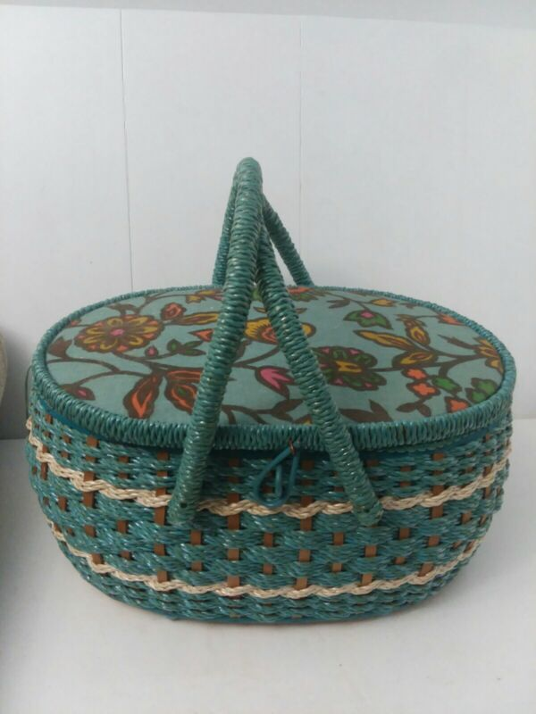 Vintage Blue Wicker Sewing Basket Made Exclusively For J.C. Penney With Contents