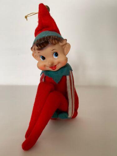 "Vintage Christmas Knee Hugger Elf Pixie Red Striped Felt 7""H Hug position"