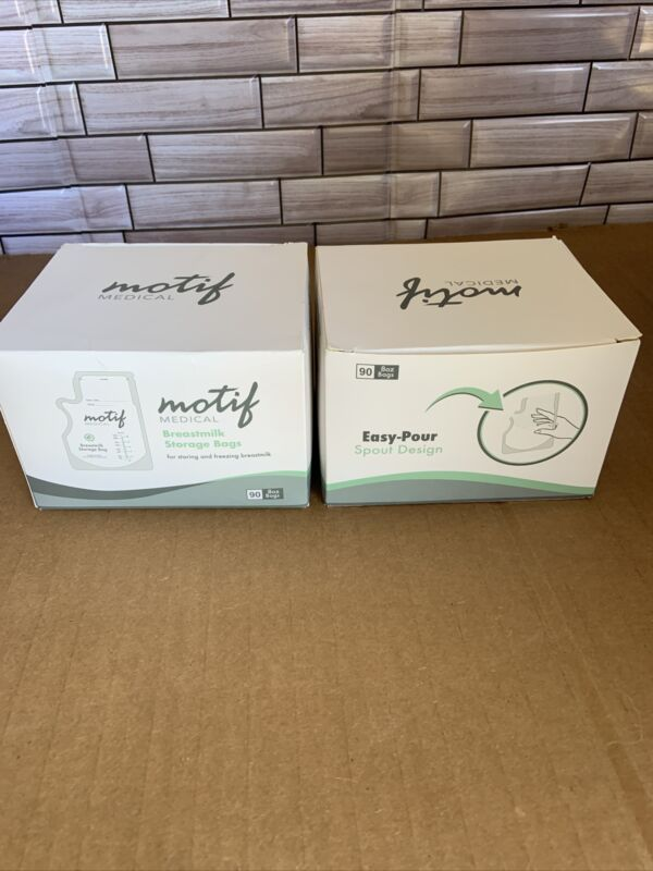 Motif 8 oz Breastmilk Storage Bags 90 ct Easy Pour Spout Design (2 Pack)