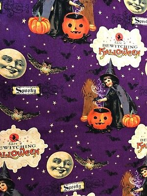 Classic Vintage Halloween Design Witch Man in the Moon Bats Owls Fabric BTHY - Vintage Classic Halloween