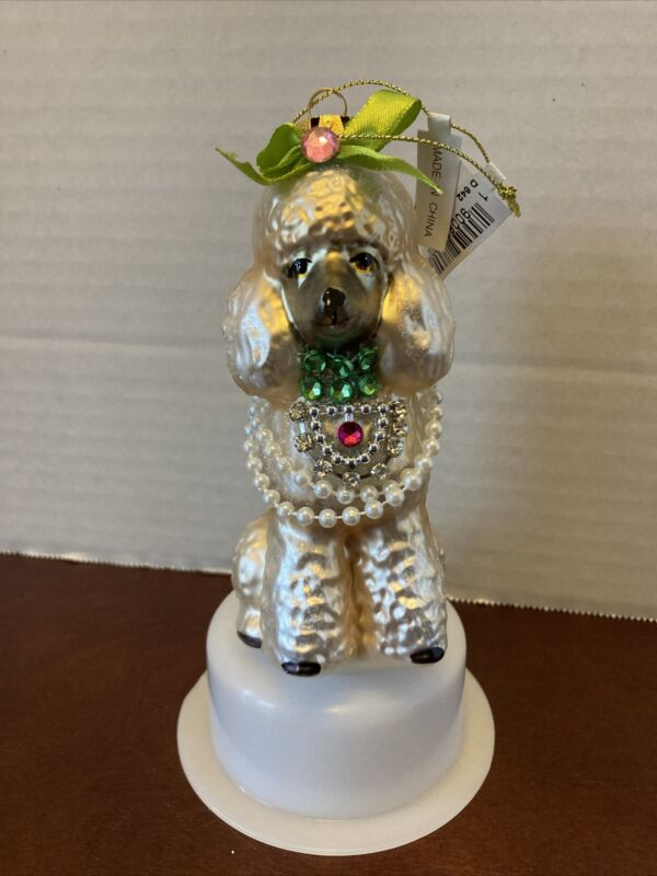 NWT Bloomingdales Glass Blown Boujee Poodle Ornament