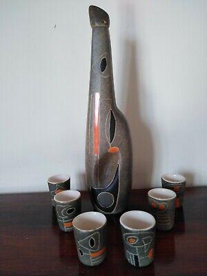 Peter Orlando céramiques set de 7 pièces décanteur et gobelets France années 60