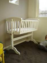 Wooden White Baby Cradle/Bassinet + Mattress, sheets etc. Garfield Cardinia Area Preview