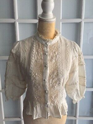 NWT ZARA White BLOUSE WITH MATCHING EMBROIDERY Lace High Neck Linen Size S #1949