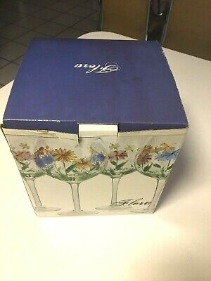 """HOME ESSENTIALS & BEYOND FLORA HAND PAINTED 8-1/2"""" TALL -PRC -14 OZ - 4 GOBLETS"""