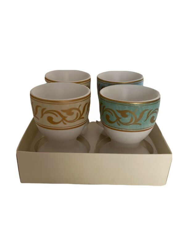 Ceramic Egg Cups Set of 4 Pottery Barn Pastel Colors Gold Floral Pattern & Edge