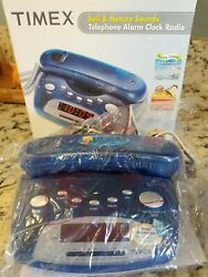 Timex Bell & Nature Sounds AM/FM Alarm Clock With Telephone In Translucent Blue