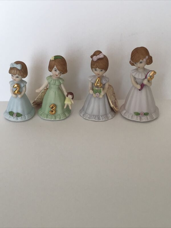 Vintage Enesco Growing Up Birthday Girls Brunette Ceramic Figurine Ages 2,3,4,5