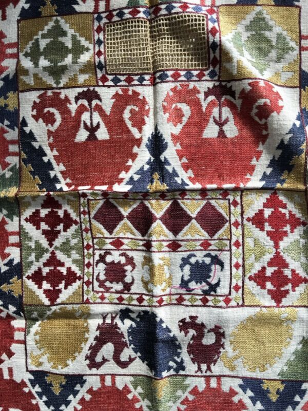 Uzbek Vintage Embroidered Face Veil Wall Hanging