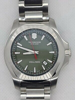 Victorinox INOX Swiss Watch Green Dial on Bracelet with New Style Improved Clasp
