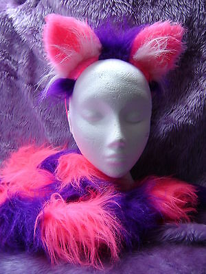 The Cheshire Cat Fancy Dress Ears And Tail Bright Pink & Purple 30 Inch Tail - Cheshire Cat Fancy Dress Kostüm