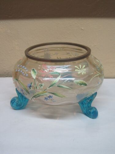 Antique Victorian Hand Painted Blown Glass Bowl With Applied Blown Glass Feet