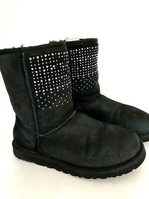 UGG Short Bling Women's 7 Black Crystals Rhinestone Winter Boots 103890 EU 38