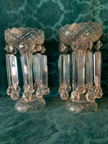 19th Cen English Irish Cut Glass Crystal Girondles Lusters