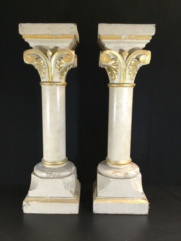 ANTIQUE 19th C FRENCH ARCHITECTURAL COLUMNS HAND CARVED GOLD CAPITALS Gothic