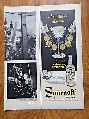 1953 Smirnoff Vodka Ad   Makes Dry-er Martinis