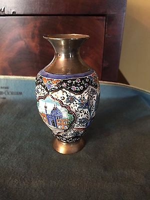 ANTIQUE PERSIAN SOLID SILVER AND ENAMEL VASE