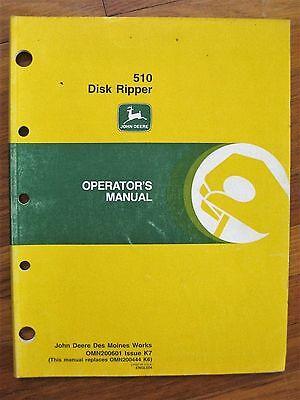 John Deere 510 Disk Ripper Operators Manual