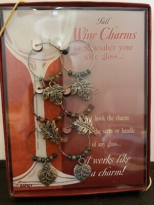Thanksgiving Table Decor Ideas (6 Wine Glass Charms Fall Leaves - Holiday Gift Idea or Thanksgiving Table)