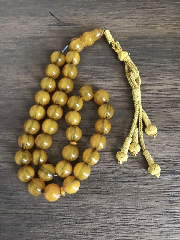 Special Collectible Turkish Sandalos Amber Rosary 33 Beads With Silver Tussel