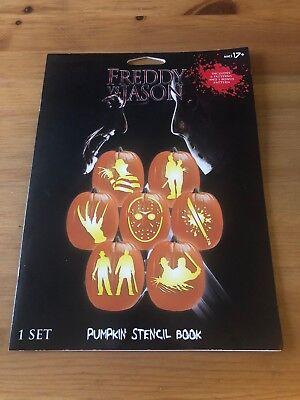 Freddy Vs. Jason Halloween Pumpkin Stencil Book Horror Slashers NEW  - Halloween Vs Jason