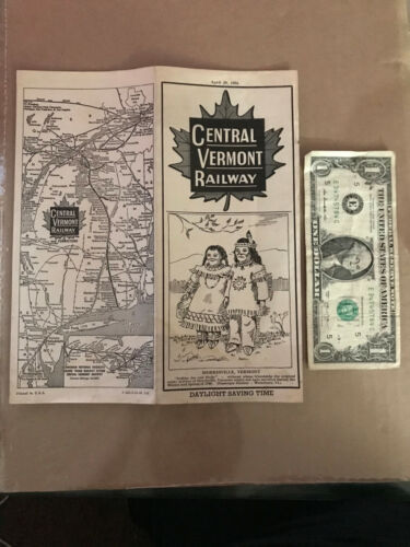 April 29 1956 Central Vermont Railway Morrisville Daylight Train Time Table