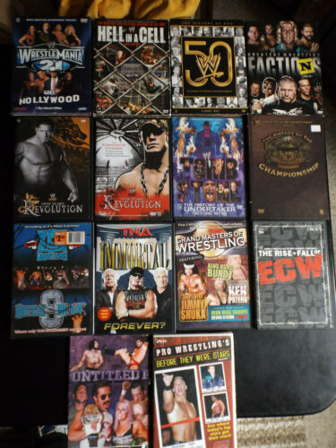 Lot of  Wrestling DVDs - WWE  WCW, WrestleMania FREE SHIPPING!!!!!!!!!!!!!!!!!