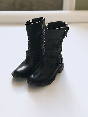 $325 NWT UGG size 6 CONOR Studded Mid Calf Boots BLACK Leather SHEARLING LINING for sale  Houston