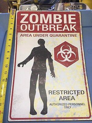 Warning Sign Halloween (The Walking Dead - warning Zombie - metal sign - LARGE - NEW Halloween)